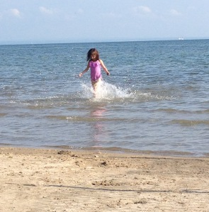 Lake Erie, Ontario, splashing her heart out.